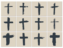 Grunge hand drawn cross symbols set. Christian crosses, religious signs icons, crucifix symbol vector illustration. Royalty Free Stock Photos