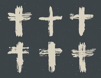 Grunge hand drawn cross symbols set. Christian crosses, religious signs icons, crucifix symbol vector illustration. On chalkboard background Royalty Free Stock Photography