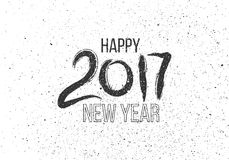 Grunge Hand drawn lettering on white background. New Year. Greeting 2017. Watercolor blots of paint like winter snowing Royalty Free Illustration