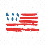 Grunge hand drawn USA flag, american abstract textured badge, typography design vector illustration Royalty Free Stock Photo