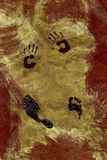 Grunge Hand and Foot Prints Royalty Free Stock Image