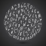 Grunge Hand Made Vector Font. Vector calligraphy background. Round vector alphabet pattern. Vector letters on whiteboard Royalty Free Stock Photos