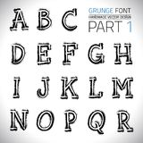 Grunge Hand Made Vector Font. Part 1. Vector design elements. Freehand vector letters. Vector placard font Royalty Free Stock Photo