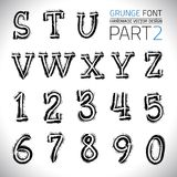 Grunge Hand Made Vector Font. Part 1. Vector design elements. Freehand vector letters. Vector placard font Stock Photo