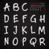 Grunge Hand Made Vector Font. Part 1. Vector design elements. Freehand vector letters. Vector placard font Stock Images