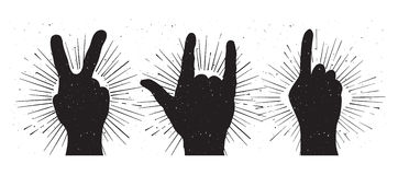 Grunge hand sign silhouettes Royalty Free Stock Photos