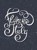 Grunge hand writing Florence Italy inscription, vector illustrat Royalty Free Stock Image