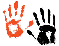 Grunge hands. Vector traces of two hands Royalty Free Stock Images