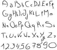 Grunge handwritten alphabet Royalty Free Stock Photos