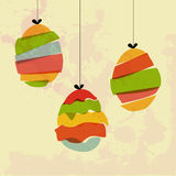 Grunge hanging Easter eggs Stock Photography
