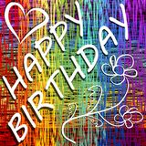 Grunge happy birthday billboard in rainbow layout with heart and doodle flower Royalty Free Stock Image