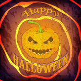 Grunge Happy Halloween card or poster with pumpkin and message. Trick or Treat halloween party greeting card Royalty Free Stock Image