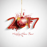Grunge Happy New Year bauble background. Happy New Year background with typography design Stock Images