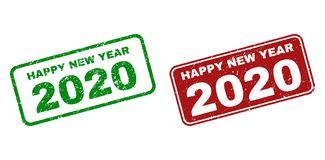 Grunge HAPPY NEW YEAR 2020 Watermarks with Rounded Rectangle Frames royalty free illustration