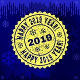 Grunge HAPPY 2019 YEAR! Stamp Seal on Winter Background stock illustration