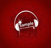 Grunge headphones. Illustration of headphones on a red grunge background Royalty Free Stock Photos