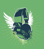 Grunge headphones. On dirty background. Vector illustration Stock Photo