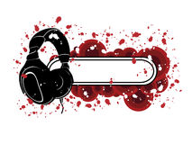Grunge Headphones Pattern. Vector grunge pattern with headphones Royalty Free Stock Photo
