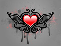 Grunge heart. Grunge red heart with wings on an abstract background with drop Stock Image