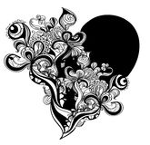 Grunge heart. Decorative hand drawn black and white heart Stock Photos