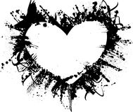 Grunge heart. Heart in grunge style with bird and splatters Royalty Free Stock Photos