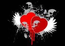 Grunge heart. Heart and skull with grunge detail Royalty Free Stock Photography