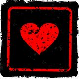 Grunge heart. On the black background Stock Photos
