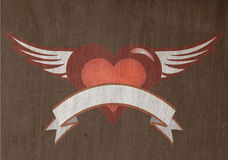 Grunge heart. Illustration of grunge heart with banner and wings stock illustration