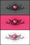 Grunge heart. Grunge pink heart on a different abstract background Stock Photo