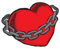 Grunge Valentine`s heart bound by chains. Grunge heart bound by chains. Vector file stock illustration