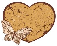 Grunge heart with butterfly Royalty Free Stock Photo