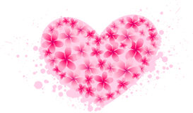 Grunge heart from frangipani Stock Images