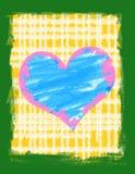 Grunge heart on a grunge background. Large blue heart on a yellow and white striped background vector illustration
