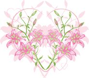 Grunge Heart Lily Stock Images