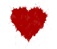 Grunge heart made with red ink. Stock Photo
