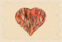 Grunge heart on paper Royalty Free Stock Images