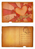 Grunge heart postcard. Grunge illustration of vintage postcard with floral heart design - front and back, clipping path included. NOT VECTOR Royalty Free Stock Photography