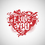 Grunge heart with text I love you. Stock Photo