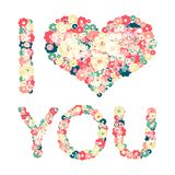 Grunge heart with text I love you. Vector Stock Image