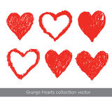 Grunge heart texture vector set Stock Photos