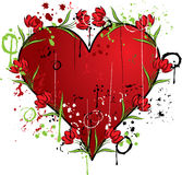 Grunge heart with a tulip, vector Royalty Free Stock Photos