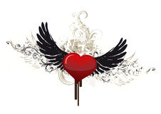 Grunge heart witj wings Stock Images