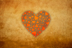 Grunge hearts. On a dirty piece of paper Royalty Free Stock Photo