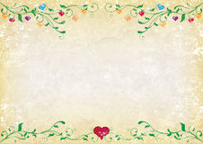 Grunge hearts. Grunge background with green swirls and hearts in different colours stock illustration
