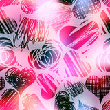 Grunge hearts on blur pink background. Royalty Free Stock Photo