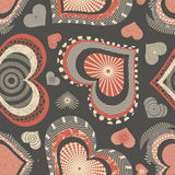 Grunge hearts. On a brown background in seamless pattern Stock Photos