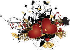 Grunge Hearts with Foliage and Butterflies Royalty Free Stock Photography