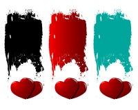 Grunge hearts-Love Banner Set Stock Photography