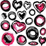 Grunge hearts and other objects vector illustration