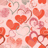 Grunge hearts pattern. Seamless background on love theme Stock Images